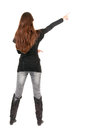 Back view of  pointing woman. Royalty Free Stock Photography