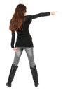 Back view of  pointing woman. Royalty Free Stock Photos