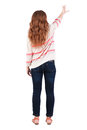 Back view of pointing woman beautiful redhaired girl rear people collection backside person isolated over white Stock Photo