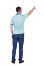 Back view of pointing young men in shirt and jeans man guy gesture rear people collection backside person isolated Stock Photos
