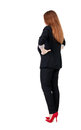 Back view of redhead business woman contemplating young girl in suit rear people collection backside person isolated Stock Photography