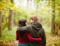 Back view of a romantic couple walking together Royalty Free Stock Images