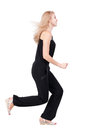 Back view of running woman beautiful blonde girl in motion backside person rear people collection isolated over white Stock Photography