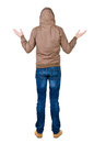Back view of shocked man in  windcheater. Royalty Free Stock Images