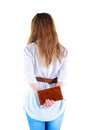 Back view of standing redhaired woman with  notebook looking Stock Photo