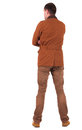 Back view of stylishly dressed man in a brown jackett  looking u Royalty Free Stock Images