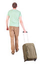 Back view of walking man with suitcase brunette guy in motion backside person rear people collection isolated over Stock Image
