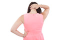 Back view woman neck pain isolated over white background Royalty Free Stock Photos