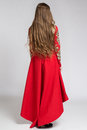 Back view of a woman in red dress with long beautiful hair Royalty Free Stock Photo