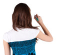 Back view of writing beautiful brunette woman Stock Photography