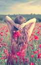 Back view of a young woman with long blonde hair in a red dress holding a bouquet of flowers in a poppy field Royalty Free Stock Photo