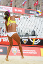 Back of volleyball player from brazil moscow june in country quota at tournament grand slam beach on june in moscow Stock Photos