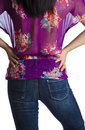 Back of a Woman Wearing Colorful Chiffon Blouse Royalty Free Stock Photo