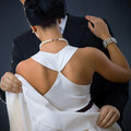 Back of woman in white dress Royalty Free Stock Photo