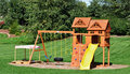 Back Yard Wooden Swing Set Stock Photography