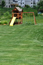 Back Yard Wooden Swing Set Royalty Free Stock Image