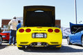 Back of a yellow Corvette Royalty Free Stock Photos