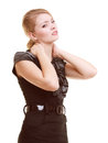 Backache young woman suffering from back pain isolated businesswoman blonde girl or neck on white Stock Photo