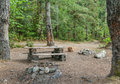 Backcountry campsite a makeshift in the forest near squamish british columbia canada Royalty Free Stock Image