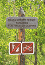 Backcountry permit sign rustic wooden in an american forest for fire or camping permits with signs banning dog walking or cycling Stock Photo