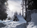 Backcountry tent in the wallowa mountains oregon Stock Photo