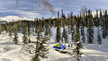 Backcountry tent winter celestial teeth kuznetsky alatau Royalty Free Stock Photos