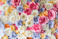 Backdrop of colorful paper roses background in a wedding reception Royalty Free Stock Images
