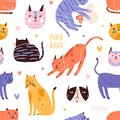 Backdrop with cute, funny cat head, muzzle, face, hearts and purr, meow text. Seamless repeatable pattern with colorful Royalty Free Stock Photo