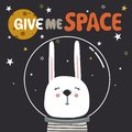 Backdrop with rabbit, stars, moon, text. Give me space
