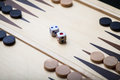 Backgammon board and dice Royalty Free Stock Photo