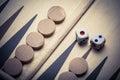 Backgammon board and dice Royalty Free Stock Photo