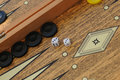 Backgammon board wooden game with cubes and dices Stock Image