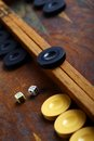Backgammon color detail of a game with two dice Royalty Free Stock Images