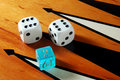 Backgammon dice and board Royalty Free Stock Image