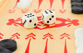 Backgammon dices macro of retro game and Stock Image