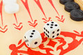 Backgammon dices macro of retro game and Royalty Free Stock Images