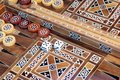 Backgammon game with two dice with space for text or image Royalty Free Stock Photo