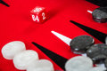 Backgammon red board with dice Stock Photos