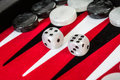 Backgammon red board with dice Stock Image