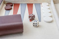 Backgammon set with dice leather Royalty Free Stock Photography