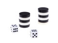 Backgammon stacked black and white pieces and dice isolated on white background Stock Photos