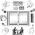 Backgammon Vintage Style Elements Set Royalty Free Stock Photo