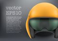 Background of aaircraft or motorsport marshall military orange aircraft helmet help steward vector illustration isolated on white Royalty Free Stock Image