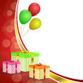 Background abstract birthday party gift box green red yellow balloons gold ribbon frame illustration Royalty Free Stock Photo