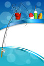 Background abstract blue white fishing rod red bucket fish net float spoon yellow green frame vertical illustration Royalty Free Stock Photo