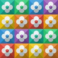 Background with abstract flowers in flat style icon seamless vector Stock Image