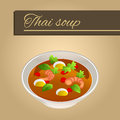 Background abstract food sea thai soup red green yellow shrimp egg beige frame illustration Royalty Free Stock Photo
