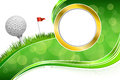 Background abstract golf sport green grass red flag white ball frame gold illustration Royalty Free Stock Photo