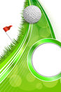 Background abstract golf sport green grass red flag white ball frame vertical illustration Royalty Free Stock Photo