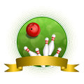 Background abstract green bowling red ball gold ribbon circle frame Royalty Free Stock Photo